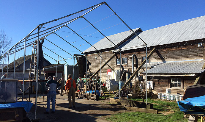 Join us this Saturday as we dismantle the yard tent frame